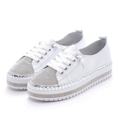 Camille's 韓國空運-正韓製-牛皮貼鑽假綁帶厚底休閒懶人鞋-白色