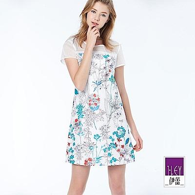 ILEY伊蕾 柔美印花拼接短袖洋裝(白)