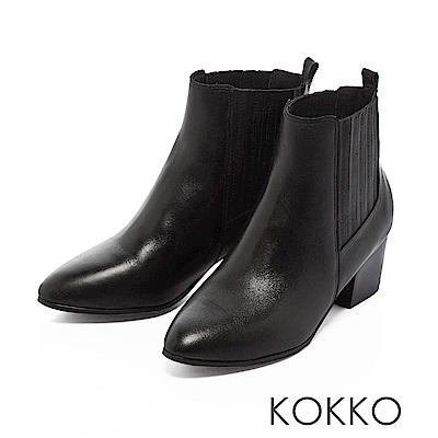 KOKKO-沙漠中的月亮真皮粗跟短靴-沉醉黑