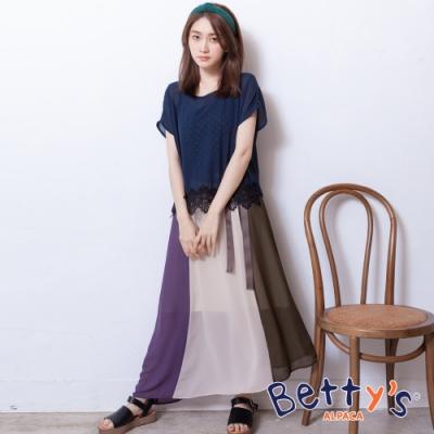 betty's貝蒂思 氣質拼接雪紡長裙(米紫色)