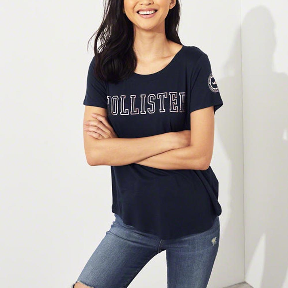 HCO Hollister 海鷗 經典印刷文字短袖T恤(女)-深藍色