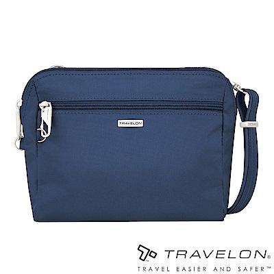 Travelon美國防盜包 經典防割鋼網休閒斜背包/腰包兩用(TL-43227-18深藍)