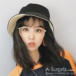A-Surpriz 純色透氣雙面漁夫帽(黑)