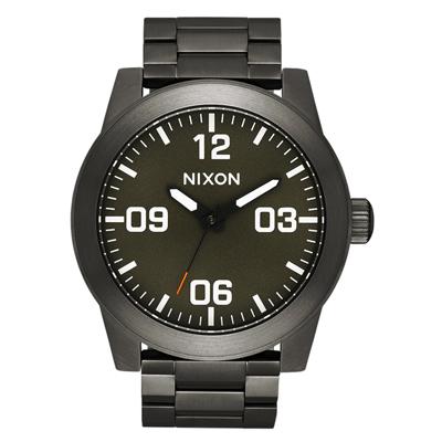 NIXON CORPORAL SS 曠野風潮時尚運動腕錶-鐵灰X綠