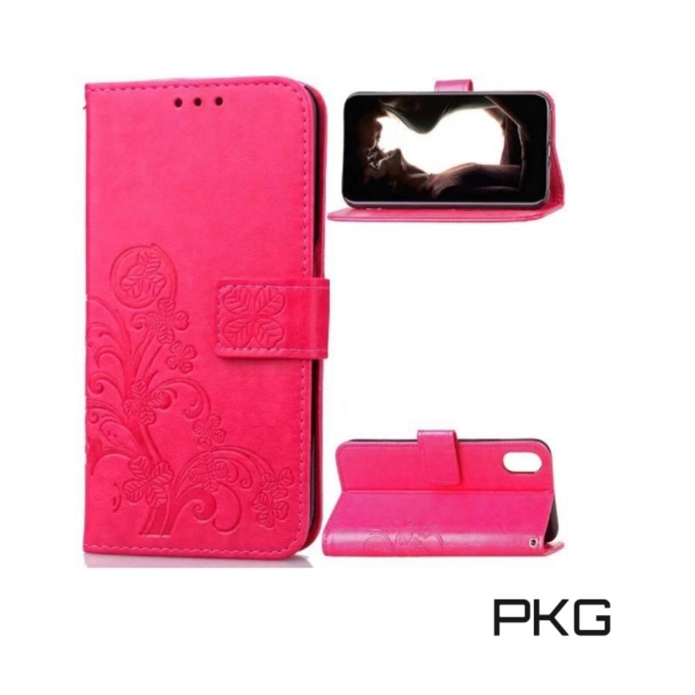 PKG Apple XR  側翻式皮套-精選皮套系列-幸運草-玫紅