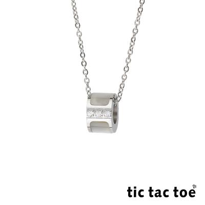 tic tac toe 白鋼女項鍊 雲貝鋯石 TA-5406