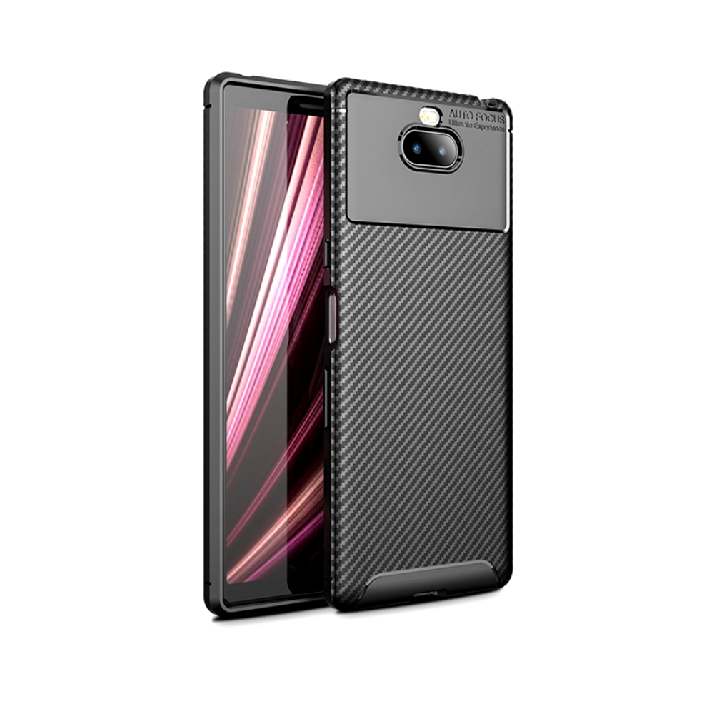 PKG SONY Xperia 10 手機殼時尚碳纖紋路+抗指紋-NEW