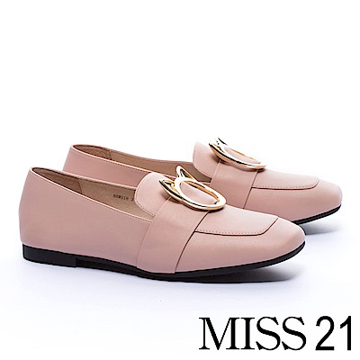 低跟鞋 MISS 21 復古俏皮小貓釦飾全真皮方頭低跟樂福鞋-粉 @ Y!購物