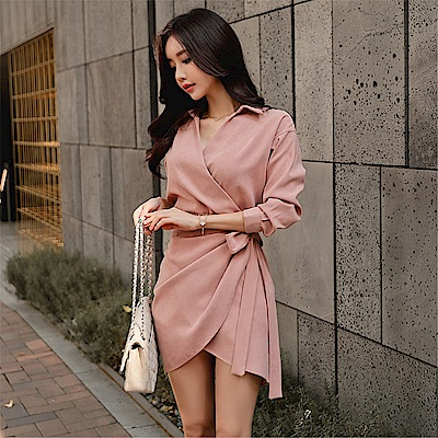 DABI 韓系襯衣V領系帶連身裙氣質顯瘦長袖洋裝