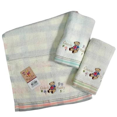 (12入)泰迪無捻提格精繡童巾-CT021-KT/精典泰迪無捻印花童巾-CT055-KT