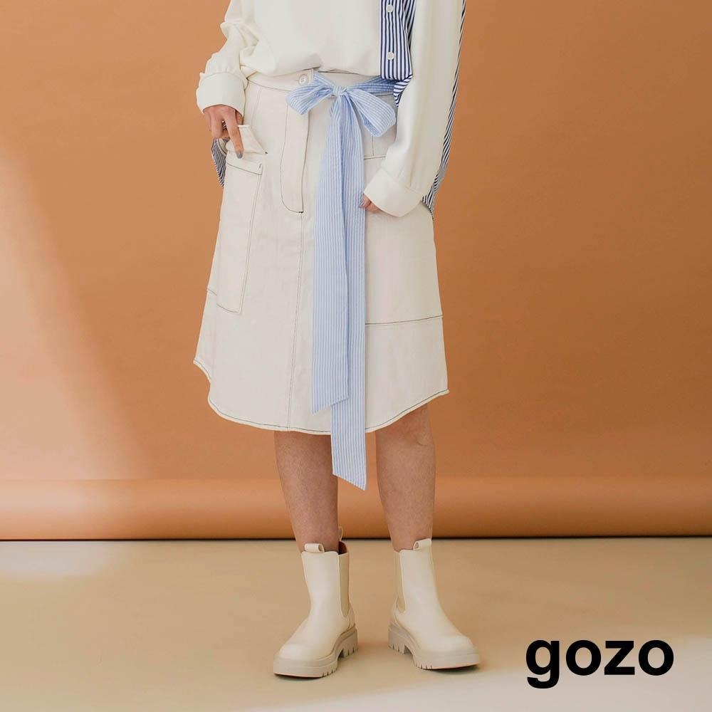 gozo-彈性斜紋仿牛仔A字裙(米白)