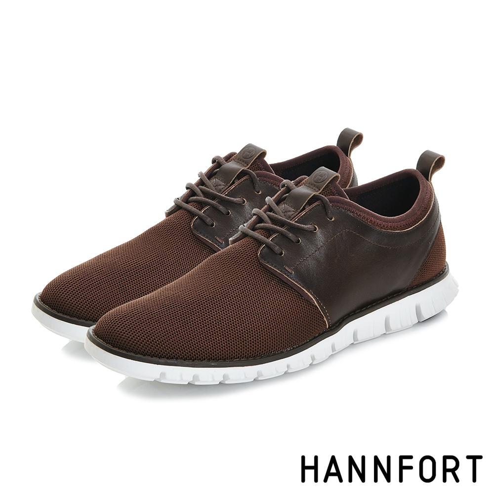 HANNFORT ZERO GRAVITY編織德比氣墊休閒鞋-男-深邃咖