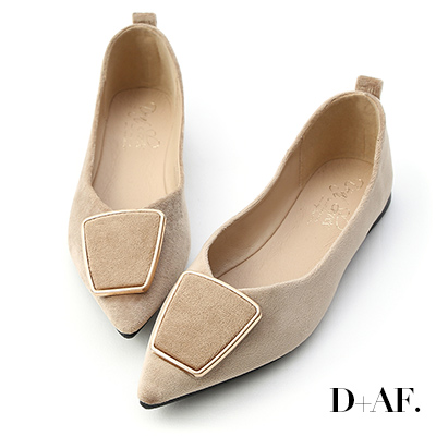 D+AF 都會風采.幾何釦飾尖頭平底鞋*杏