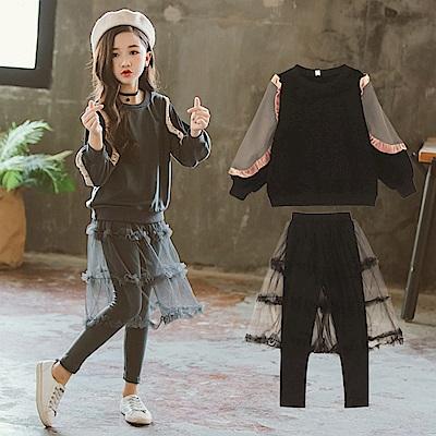 中大女童秋冬韓風時尚美型網紗裙褲套裝1070838