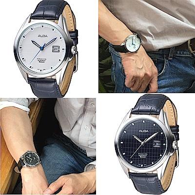 ALBA雅柏手錶 英倫情人紳士風男錶-真皮錶帶-(黑白2色)/44mm 保固二年