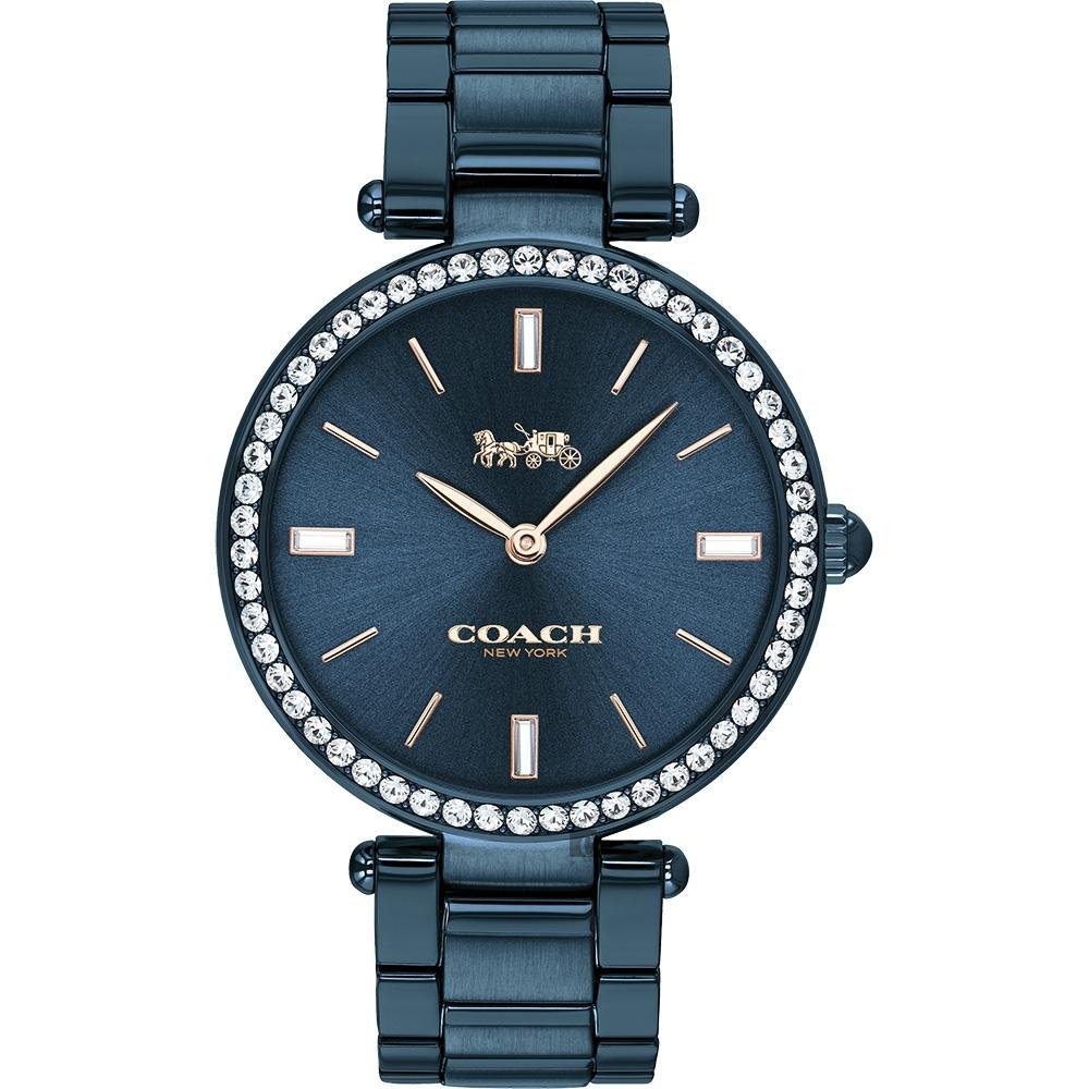 Coach 紐約  晶鑽時尚精品手錶(CO14503423)-藍/34mm