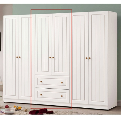 H&D 白色2.5*6尺二抽衣櫃