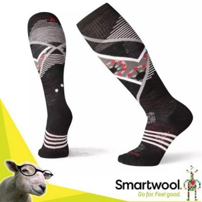 SmartWool 美麗諾羊毛 滑雪輕量菁英減震型印花高筒襪(2入)_黑
