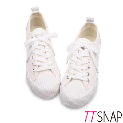 TTSNAP餅乾鞋-細緻帆布綁帶厚底增高平底鞋 白