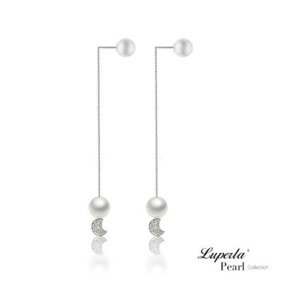 大東山珠寶 日本Akoya海水珍珠純銀晶鑽耳環雙珠耳線兩用款 純潔月光