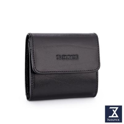 74盎司 Maroon馬鞍皮壓釦雙層零錢包[N-598-MA-M]黑