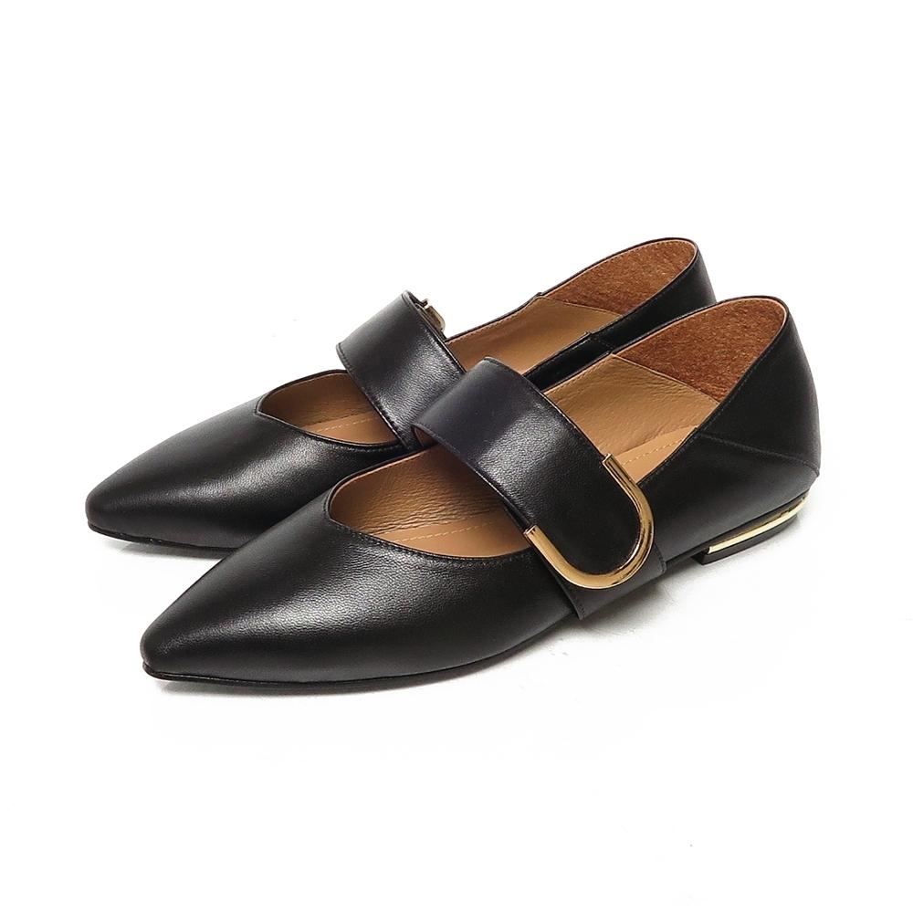 KOKKO無著感方頭柔軟綿羊皮彎折2way跟鞋經典黑