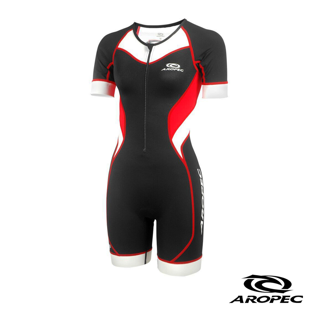 AROPEC Tri-Compresss女款(前開式)短袖連身三鐵衣 黑/紅