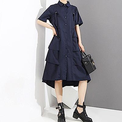 俏皮mix優雅蛋糕層次襯衫裙-(共二色)Andstyle
