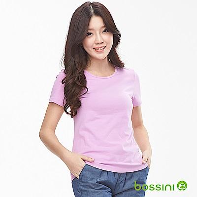 bossini女裝-素面彈性圓領T恤01粉紫