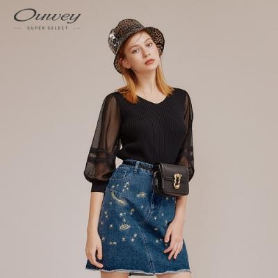 OUWEY歐薇 高彈性直條拼接縷空袖型針織衫(黑)