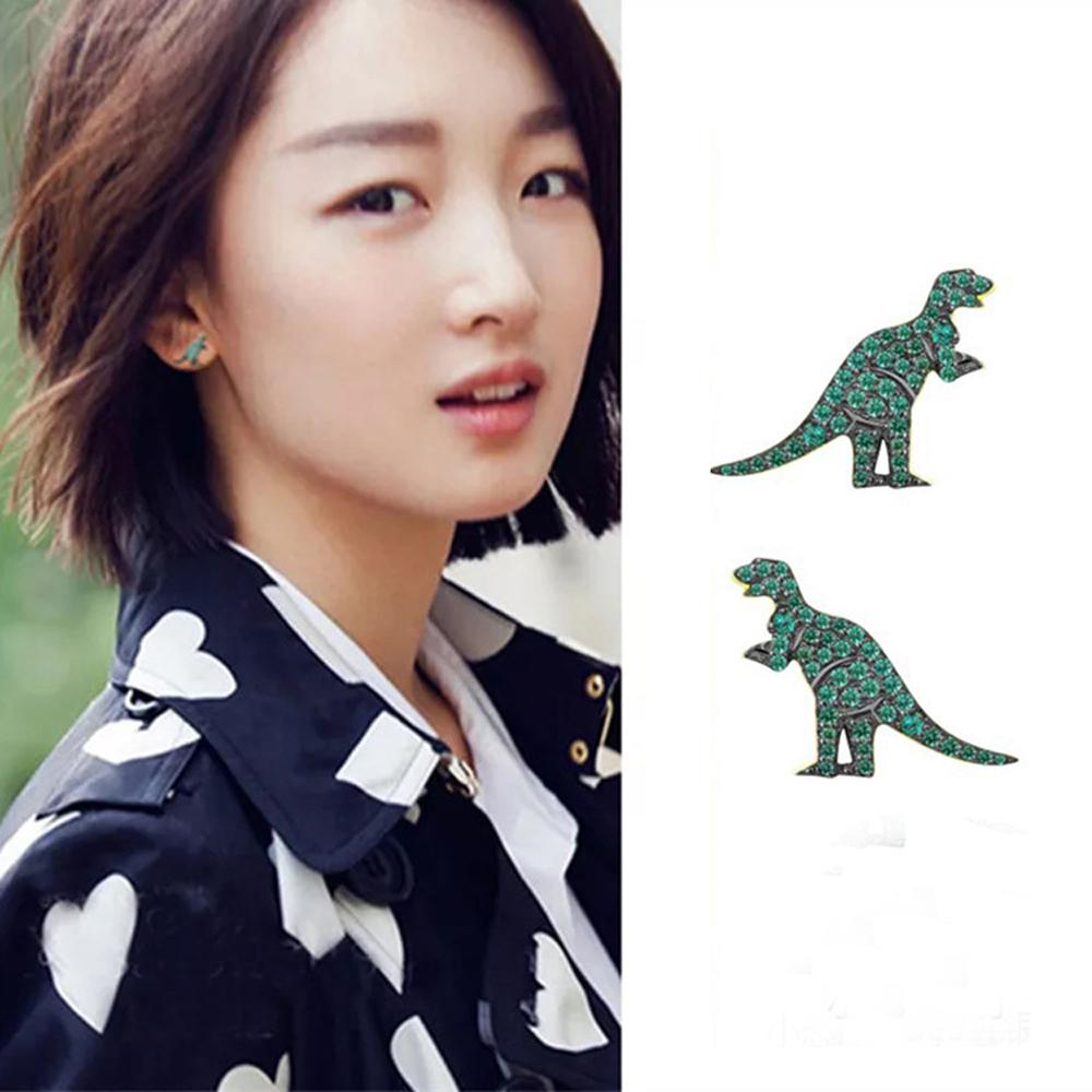 梨花HaNA 韓國925銀綠水鑽小恐龍耳環綠色