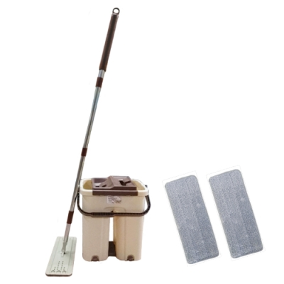 洗脫拖兩用雙槽平板拖把(一桶一拖兩布)