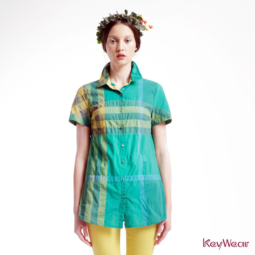 KeyWear奇威名品    舒適百搭紗格短袖襯衫-綠色