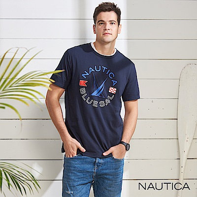 Nautica 撞色旗語圖騰LOGO短袖T恤-深藍