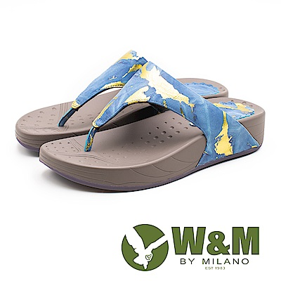 W&M 撞色潑墨厚底夾腳拖鞋 女鞋 - 藍(另有紅)