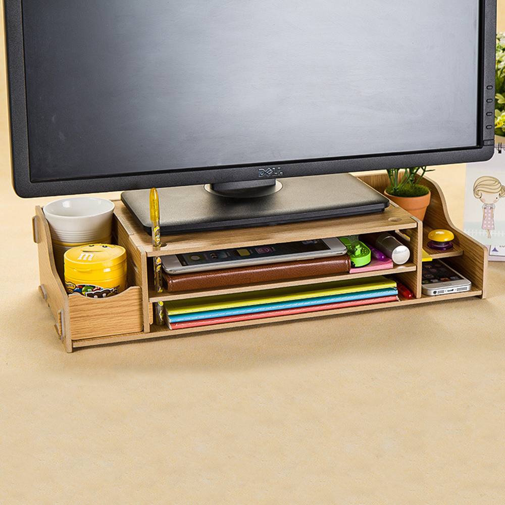 半島良品 多功能DIY木質電腦螢幕架 可調-木紋