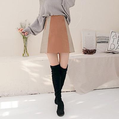 高含棉拼接格紋配色假口袋A字短裙-OB大尺碼