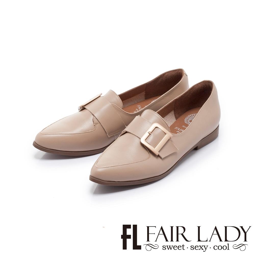 FAIR LADY 小時光 經典學院飾扣尖頭平底樂福鞋 可可棕