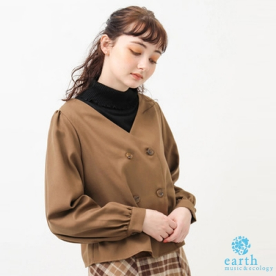 earth music 雙排扣設計V領上衣