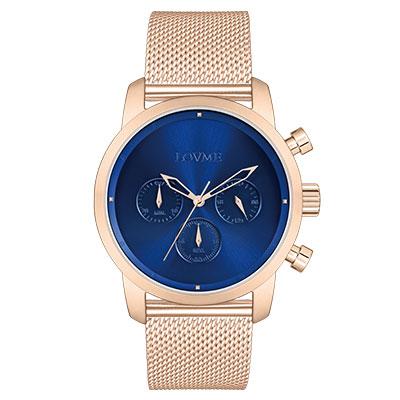 LOVME Stardust米蘭帶款時尚手錶-IP玫x藍/43mm