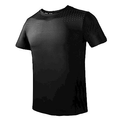 【ZEPRO】男子幾何運動短袖上衣-黑