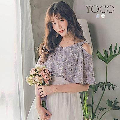 東京著衣-yoco 浪漫韓風V領碎花露肩上衣-S.M.L(共二色)