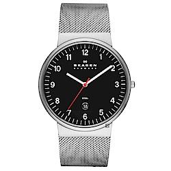 SKAGEN 都會薄型米蘭時尚石英男錶(SKW6051)-黑x銀/40mm