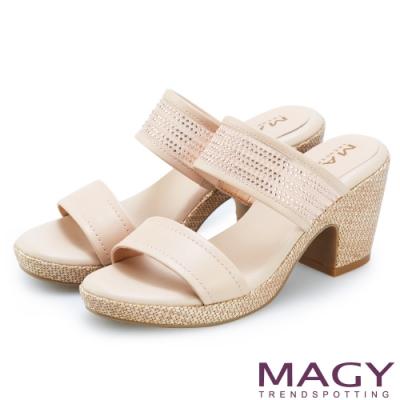 MAGY 牛皮拼接網布水鑽編織粗跟拖鞋 裸色
