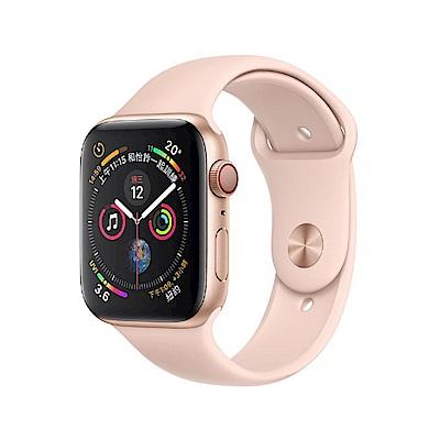 [無卡分期-12期]Apple Watch S4 44mm網路版金色鋁金屬錶殼粉沙色錶帶