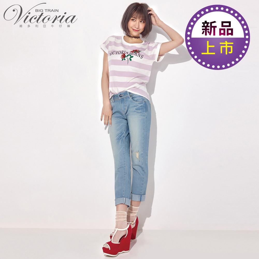 Victoria 吸排淺藍彈性星鑽男友褲-女-淺藍