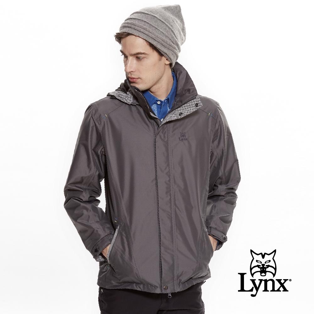 【Lynx Golf】男款防風防水透濕連帽格紋配布長袖外套-深灰色
