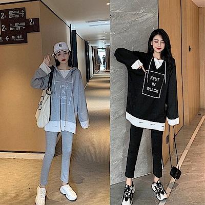 DABI 韓國風寬鬆假兩件破洞連帽套裝長袖褲裝