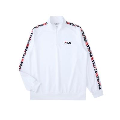 FILA 男吸濕排汗半門襟T恤-白色 1TEU-5456-WT