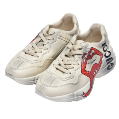 GUCCI Rhyton系列紅唇印花造型復古老爹鞋(象牙白)